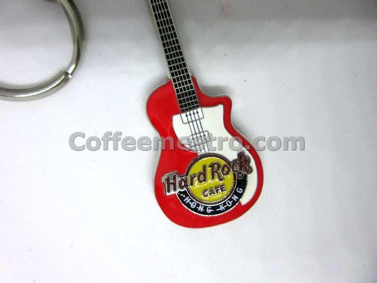 Hard Rock Cafe Hong Kong Guitar Key Chain Red