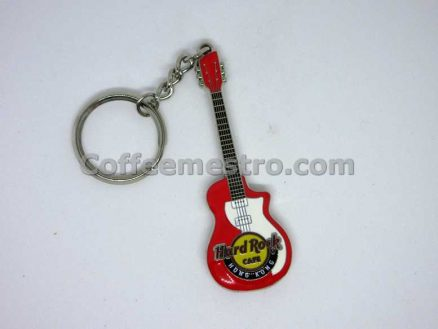 Hard Rock Cafe Hong Kong Guitar Key Chain Red