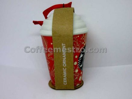 Starbucks Christmas Ceramic Ornament Hot Cup With Whip