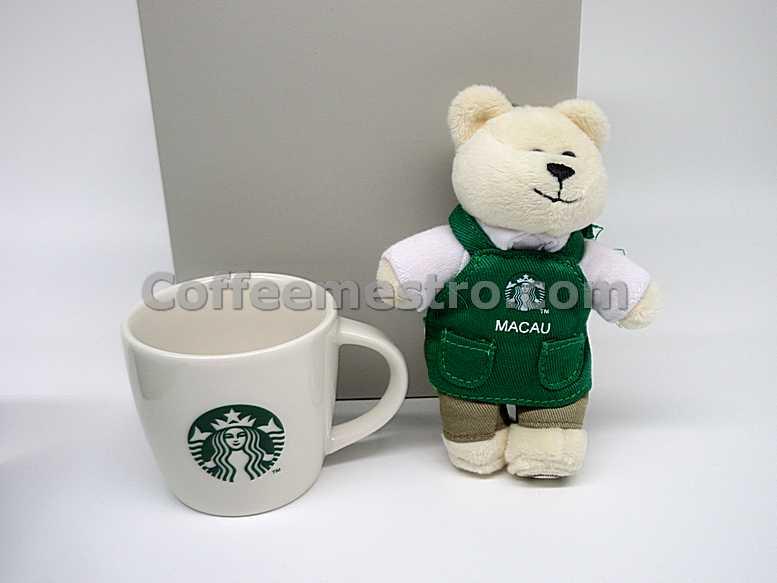 Starbucks Macau Bearista Bear KeyChain & 3oz Coffee Mug